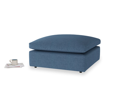 Cuddlemuffin Footstool in Inky Blue Vintage Linen