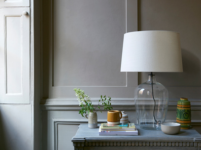 Large Flagon table lamp with a Natural Hessian shade