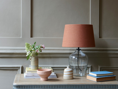 Small Flagon table lamp with a Burnt Umber vintage linen shade