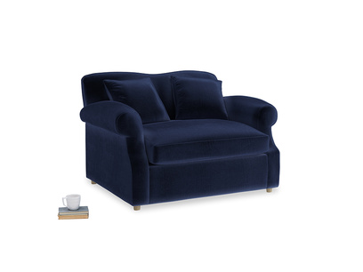 Crumpet Love Seat Sofa Bed in Midnight Clever Deep Velvet