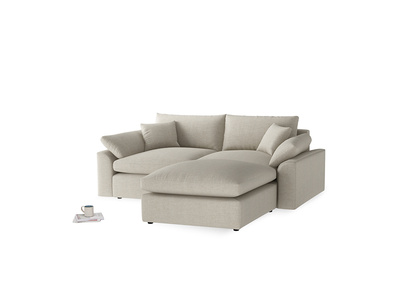 Medium Right Hand Cuddlemuffin Modular Chaise Sofa in Thatch house fabric