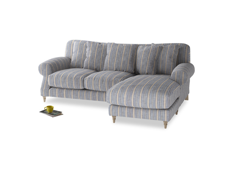 Large right hand Crumpet Chaise Sofa in Brittany Blue french stripe
