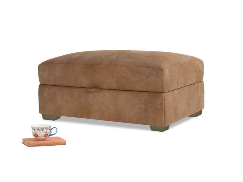 Bumper Storage Footstool in Walnut beaten leather
