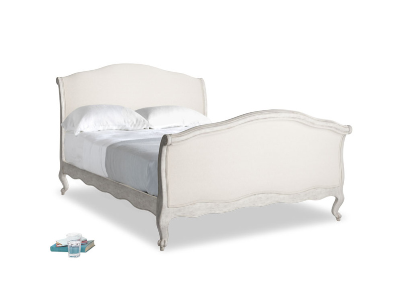 Double Antoinette Bed in Scuffed Grey in Natural cotton linen mix