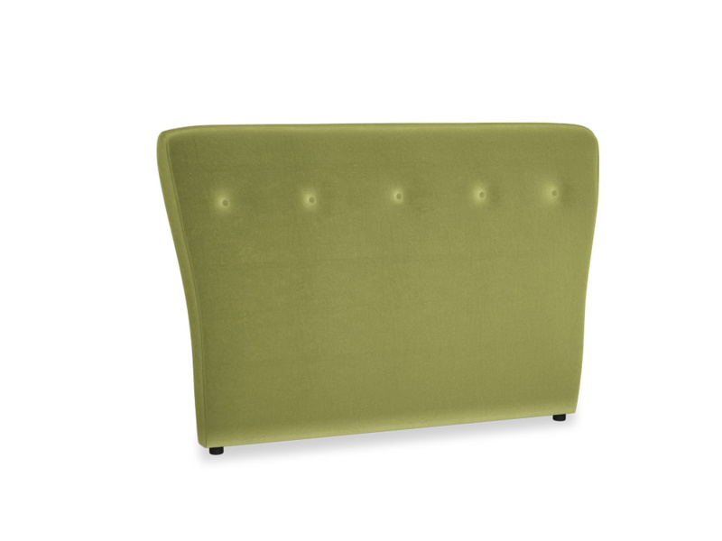 Double Smoke Headboard in Olive plush velvet