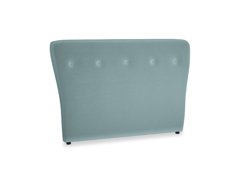 Double Smoke Headboard in Lagoon clever velvet