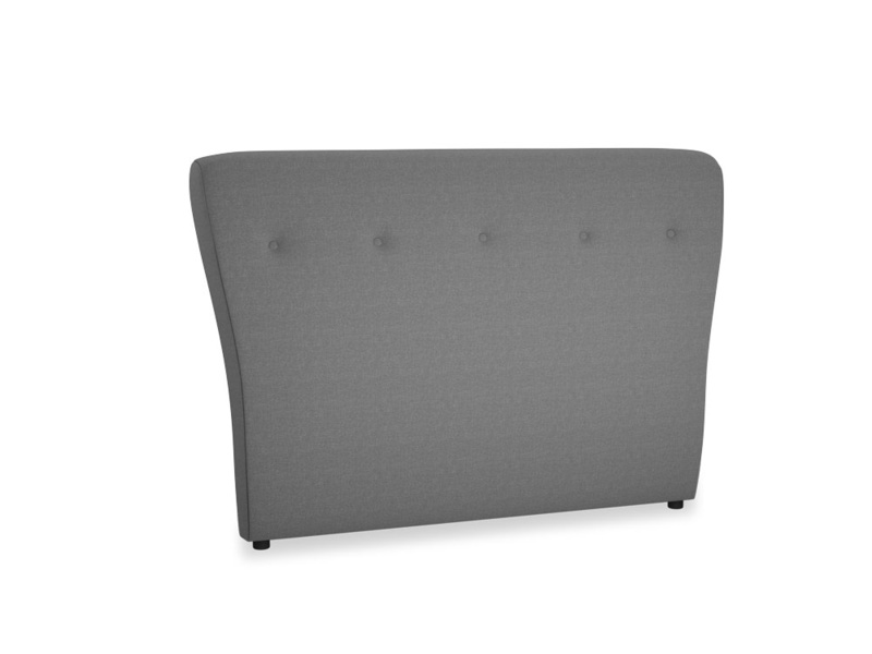Double Smoke Headboard in Ash washed cotton linen
