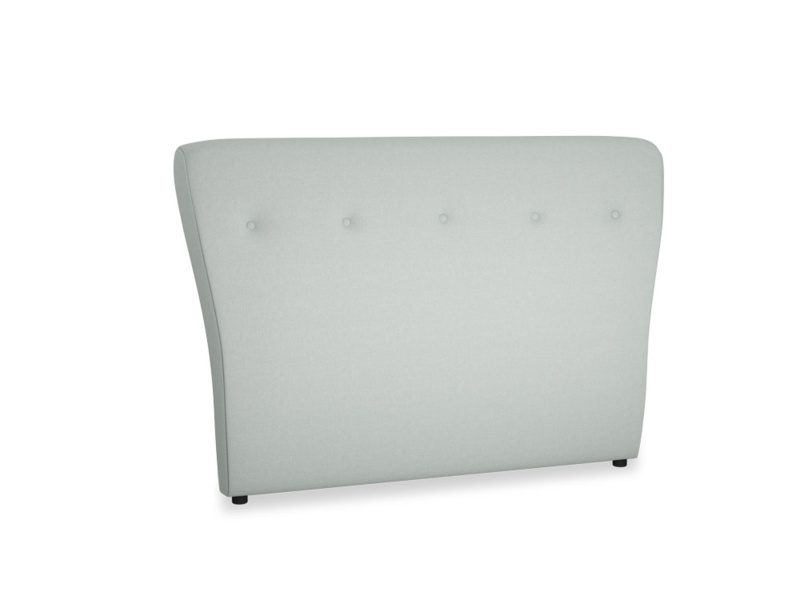 Double Smoke Headboard in French blue brushed cotton