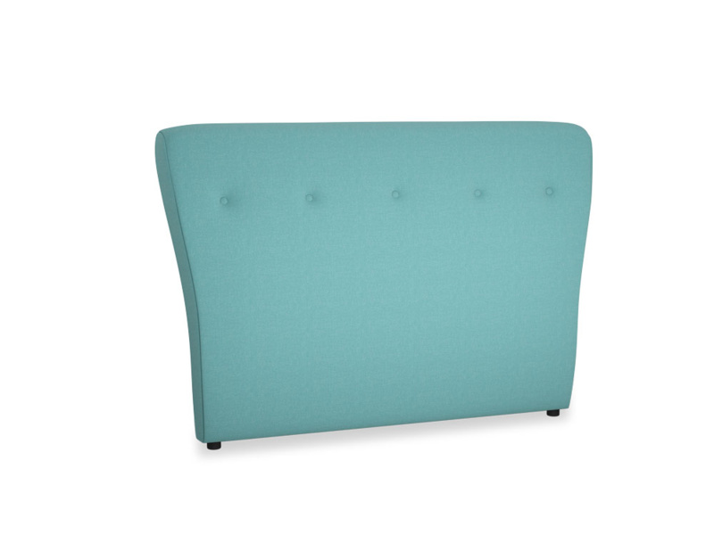 Double Smoke Headboard in Peacock brushed cotton