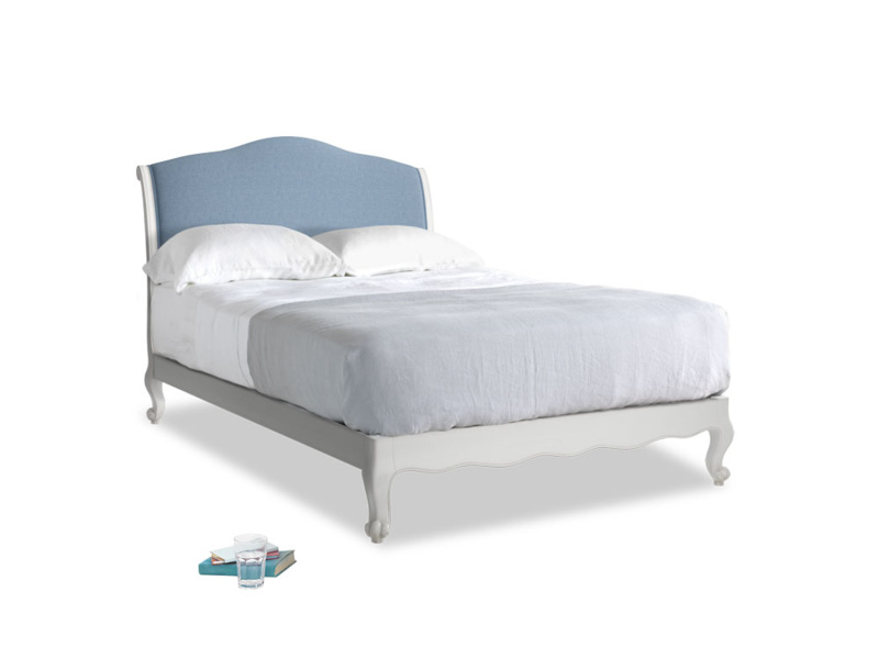 Double Coco Bed in Scuffed Grey in Nordic blue brushed cotton