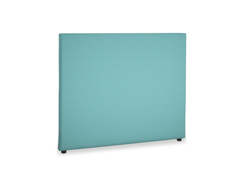 Double Piper Headboard in Peacock brushed cotton