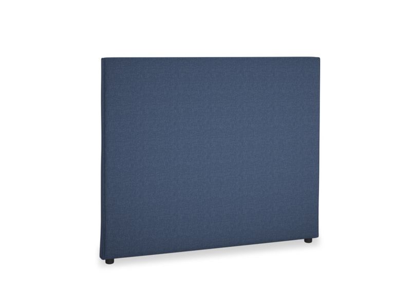 Double Piper Headboard in Navy blue brushed cotton