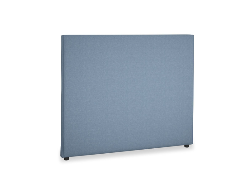 Double Piper Headboard in Nordic blue brushed cotton