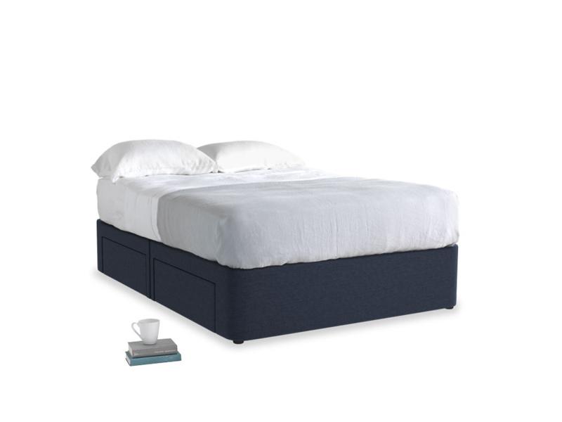 Double Tight Space Storage Bed in Indigo vintage linen