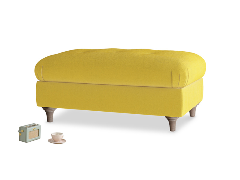Rectangle Jammy Dodger Footstool in Bumblebee clever velvet