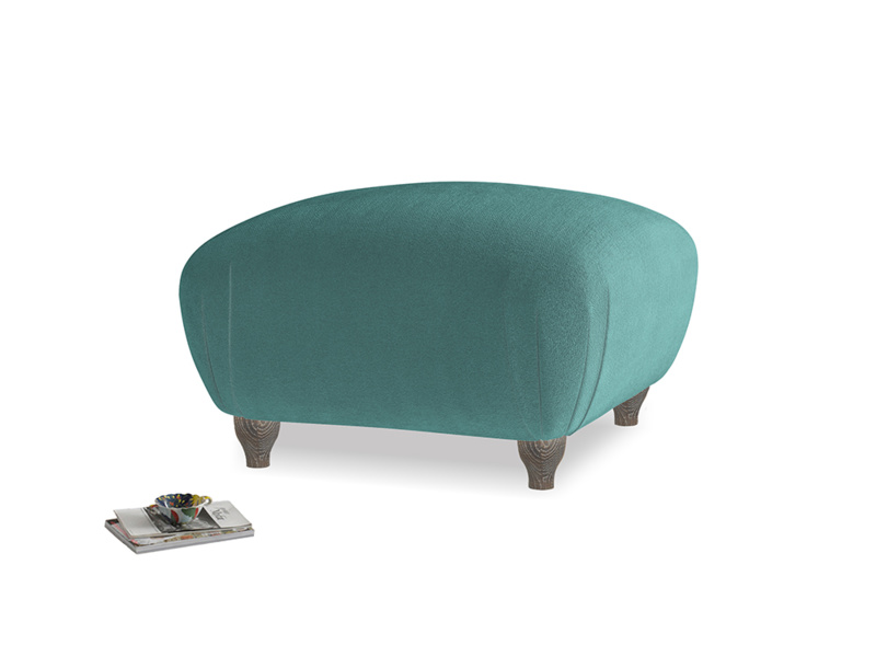 Small Square Homebody Footstool in Real Teal clever velvet