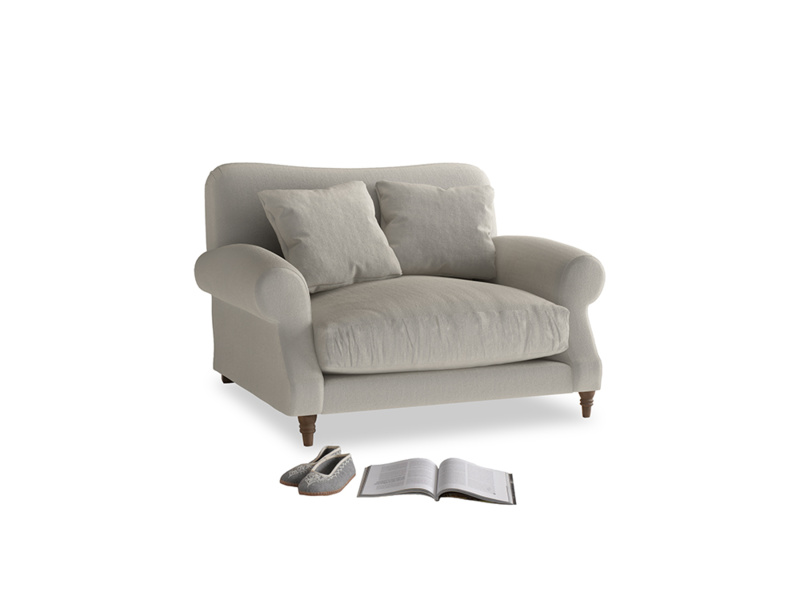 Crumpet Love seat in Smoky Grey clever velvet
