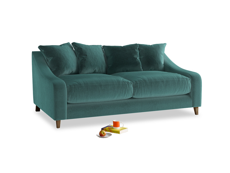 Medium Oscar Sofa in Real Teal clever velvet