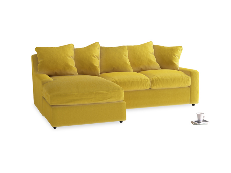 Large left hand Cloud Chaise Sofa in Bumblebee clever velvet