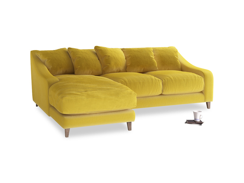 Large left hand Oscar Chaise Sofa in Bumblebee clever velvet