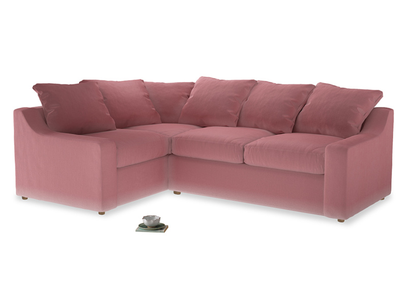 Large Left Hand Cloud Corner Sofa in Dusty Rose clever velvet