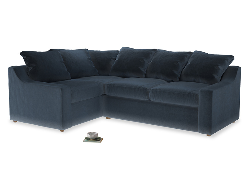 Large Left Hand Cloud Corner Sofa in Liquorice Blue clever velvet