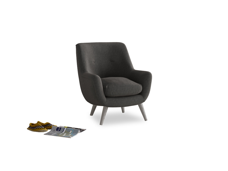Berlin Armchair in Old Charcoal brushed cotton