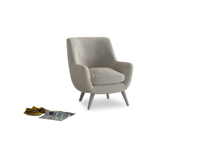 Berlin Armchair in Smoky Grey clever velvet