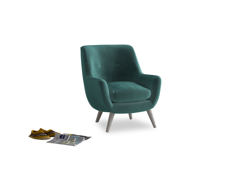 Berlin Armchair in Real Teal clever velvet