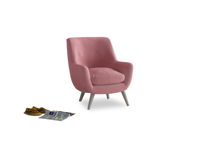 Berlin Armchair in Dusty Rose clever velvet