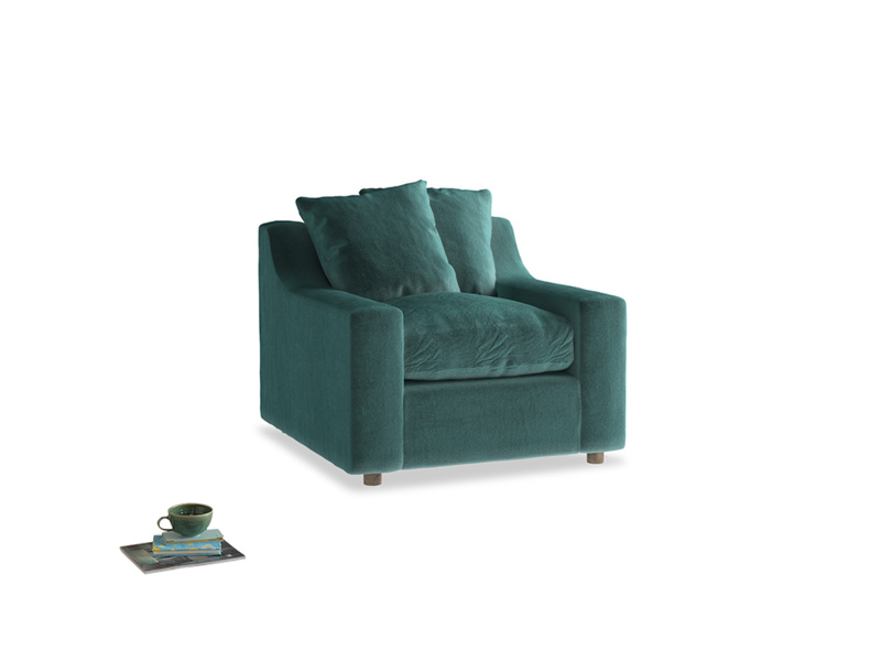 Cloud Armchair in Real Teal clever velvet