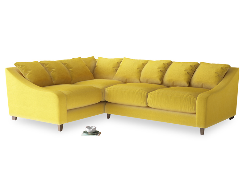 Large Left Hand Oscar Corner Sofa  in Bumblebee clever velvet