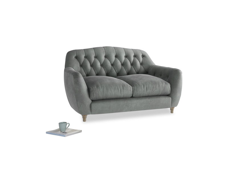 Small Butterbump Sofa in Faded Charcoal beaten leather