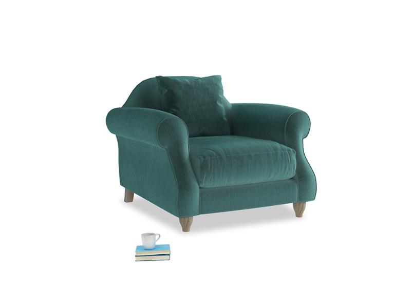 Sloucher Armchair in Real Teal clever velvet