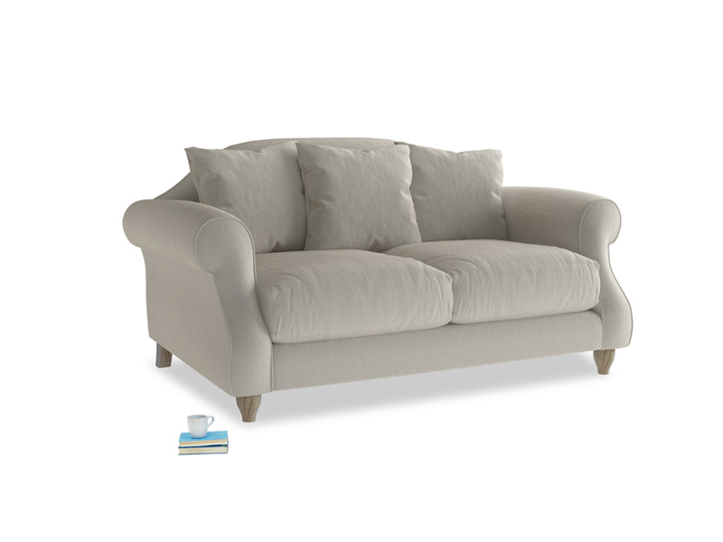 Small Sloucher Sofa in Smoky Grey clever velvet