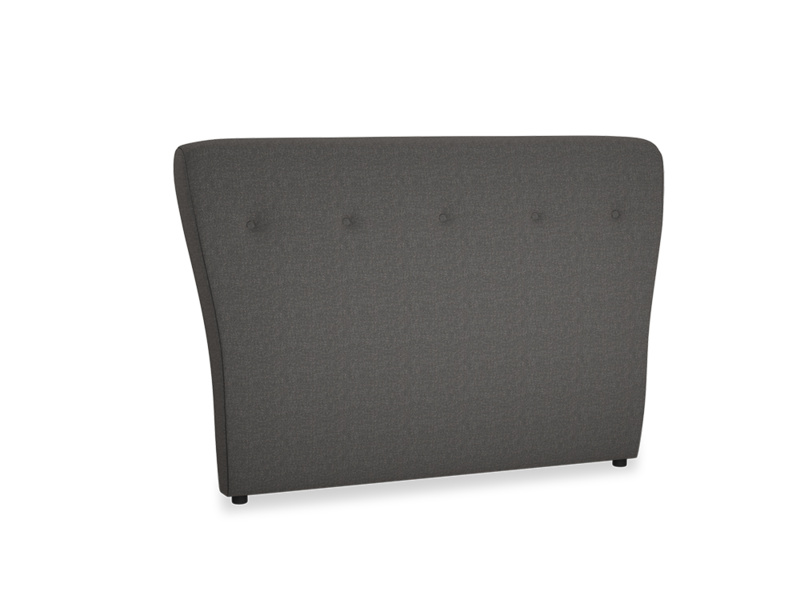 Double Smoke Headboard in Old Charcoal brushed cotton