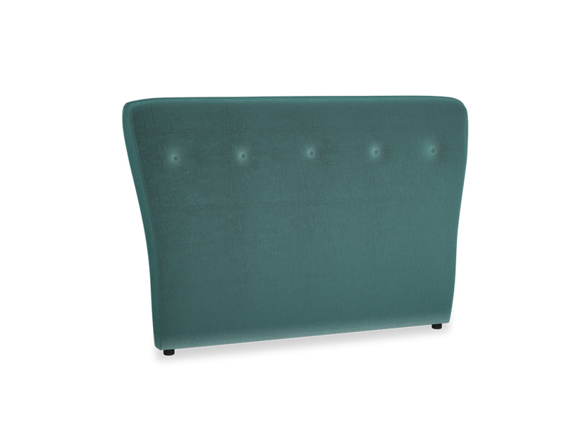 Double Smoke Headboard in Real Teal clever velvet
