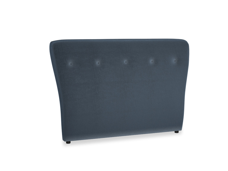 Double Smoke Headboard in Liquorice Blue clever velvet