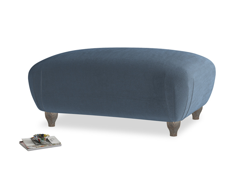 Rectangle Homebody Footstool in Liquorice Blue clever velvet