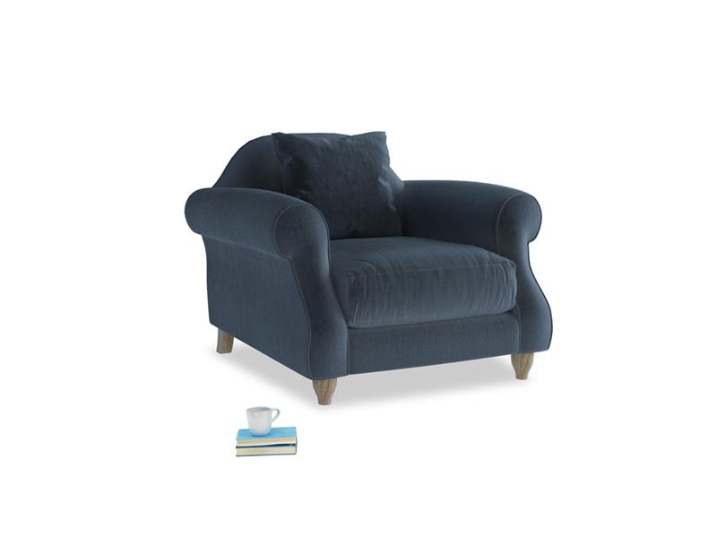 Sloucher Armchair in Liquorice Blue clever velvet