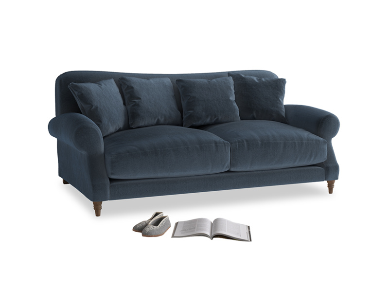 Medium Crumpet Sofa in Liquorice Blue clever velvet
