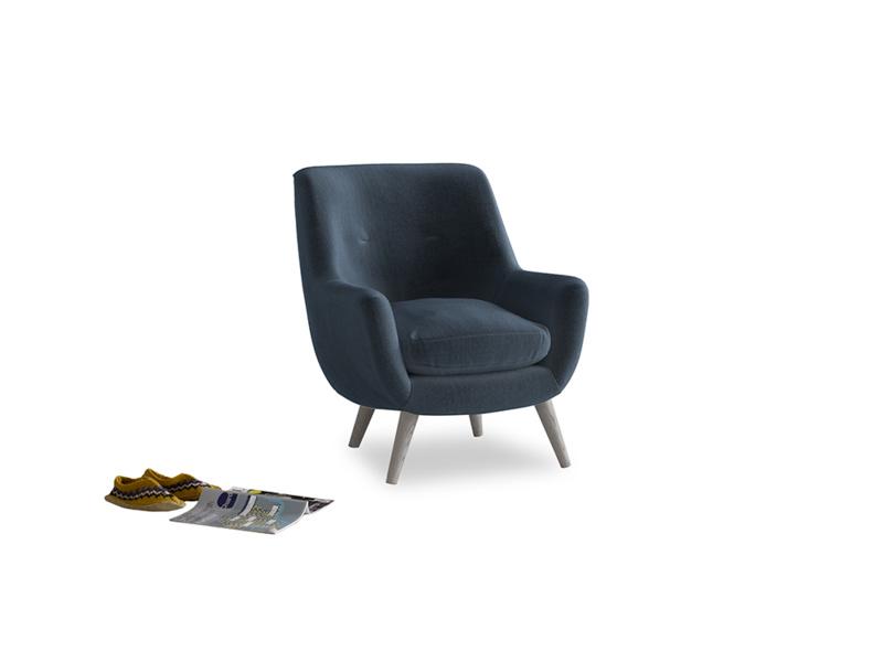 Berlin Armchair in Liquorice Blue clever velvet
