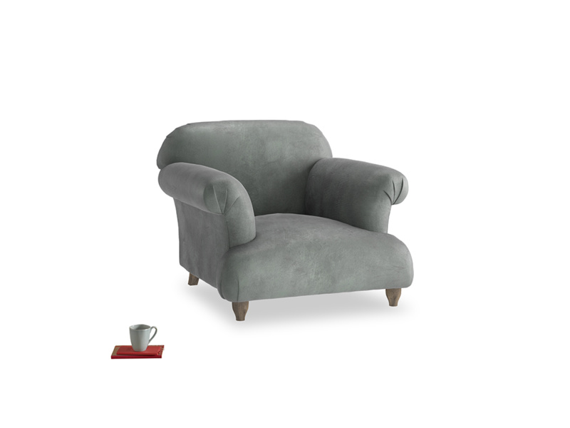Soufflé Armchair in Faded Charcoal beaten leather