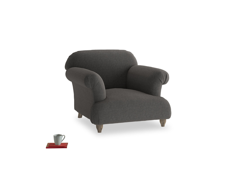 Soufflé Armchair in Old Charcoal brushed cotton