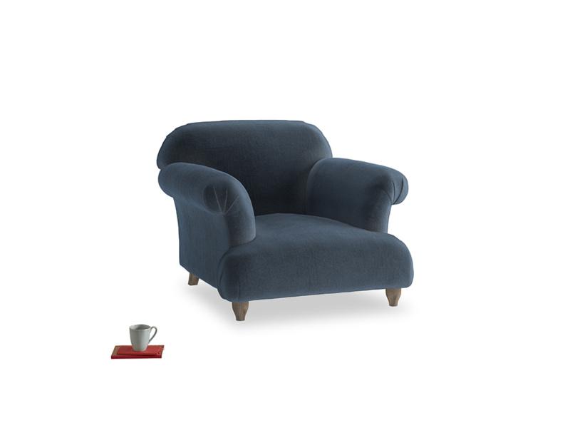 Soufflé Armchair in Liquorice Blue clever velvet