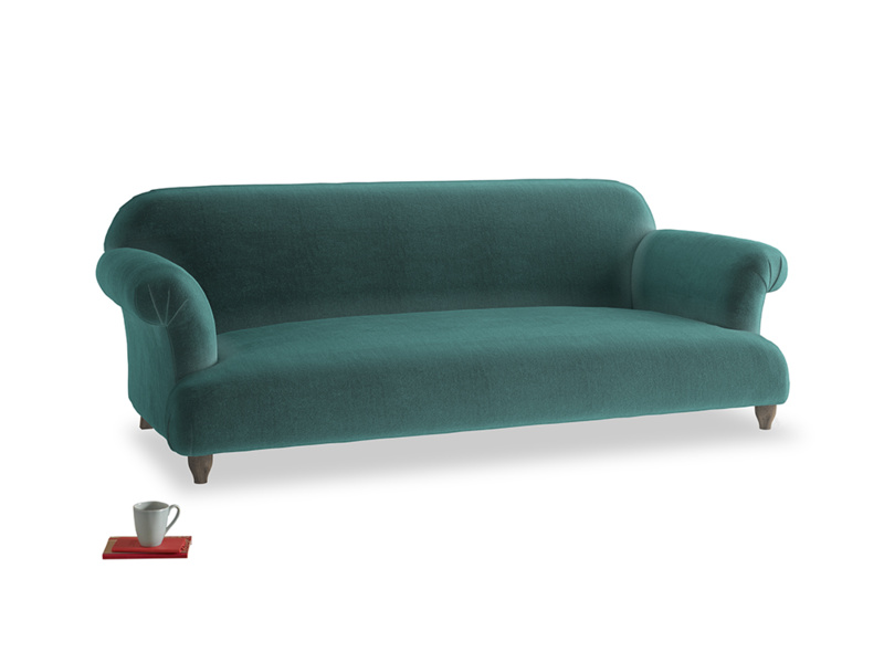 Large Soufflé Sofa in Real Teal clever velvet