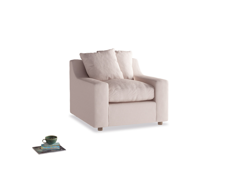 Cloud Armchair in Faded Pink brushed cotton