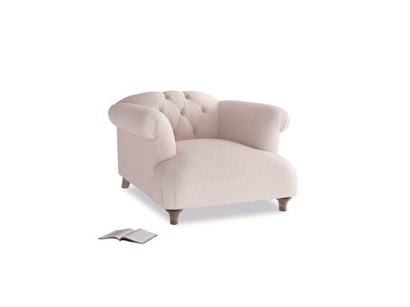 Dixie Armchair in Faded Pink brushed cotton