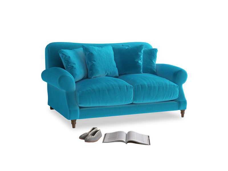 Small Crumpet Sofa in Azure plush velvet