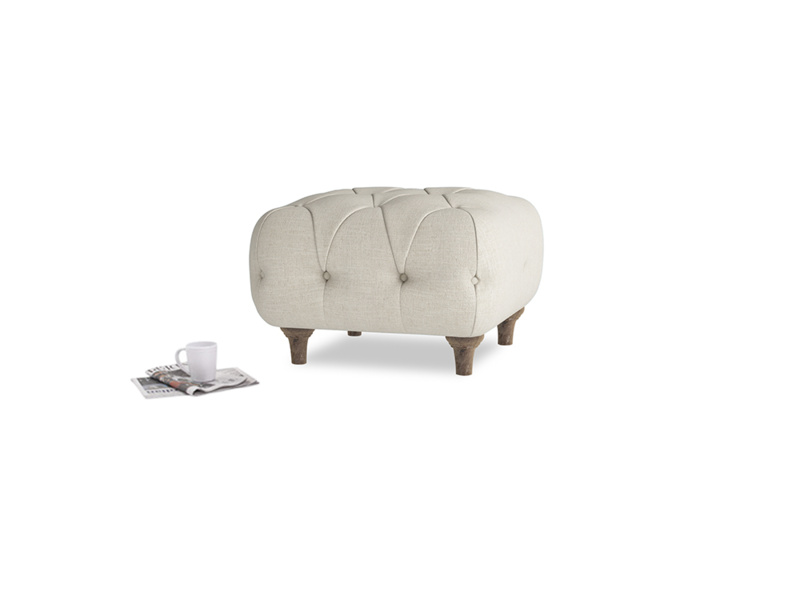 Small Square Dimple Footstool in Thatch house fabric
